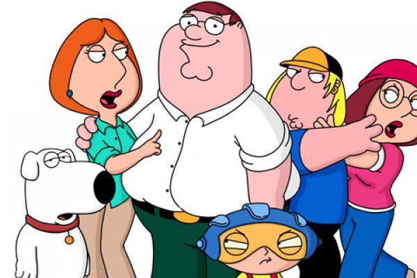 The Griffins (L-R: Brian, Lois, Peter Stewie, Chris and Meg) on THE FAMILY GUY on FOX.  ª©2001FOX BROADCASTING  CR:FOX